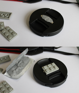 Attaching the Lego to the Lens Cap
