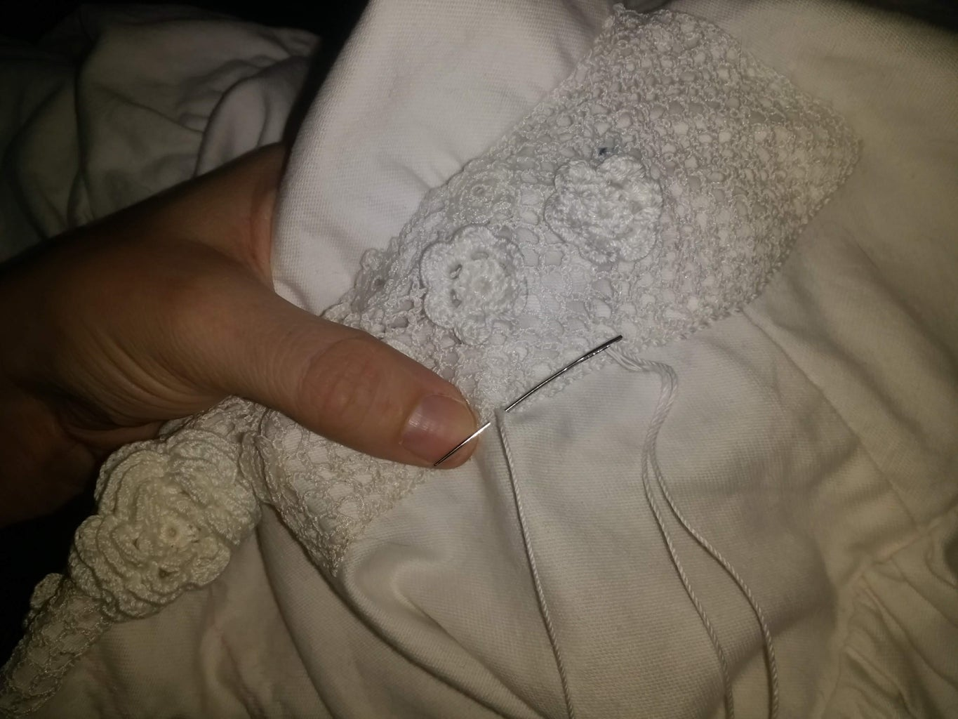 Step 5) Attaching the Net and Motifs (Sewing)