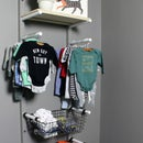 Baby Clothes Rack w/ Leather Basket Hangers