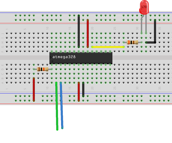 Making the Simplest Bare Breadboard Arduino Without Crystal