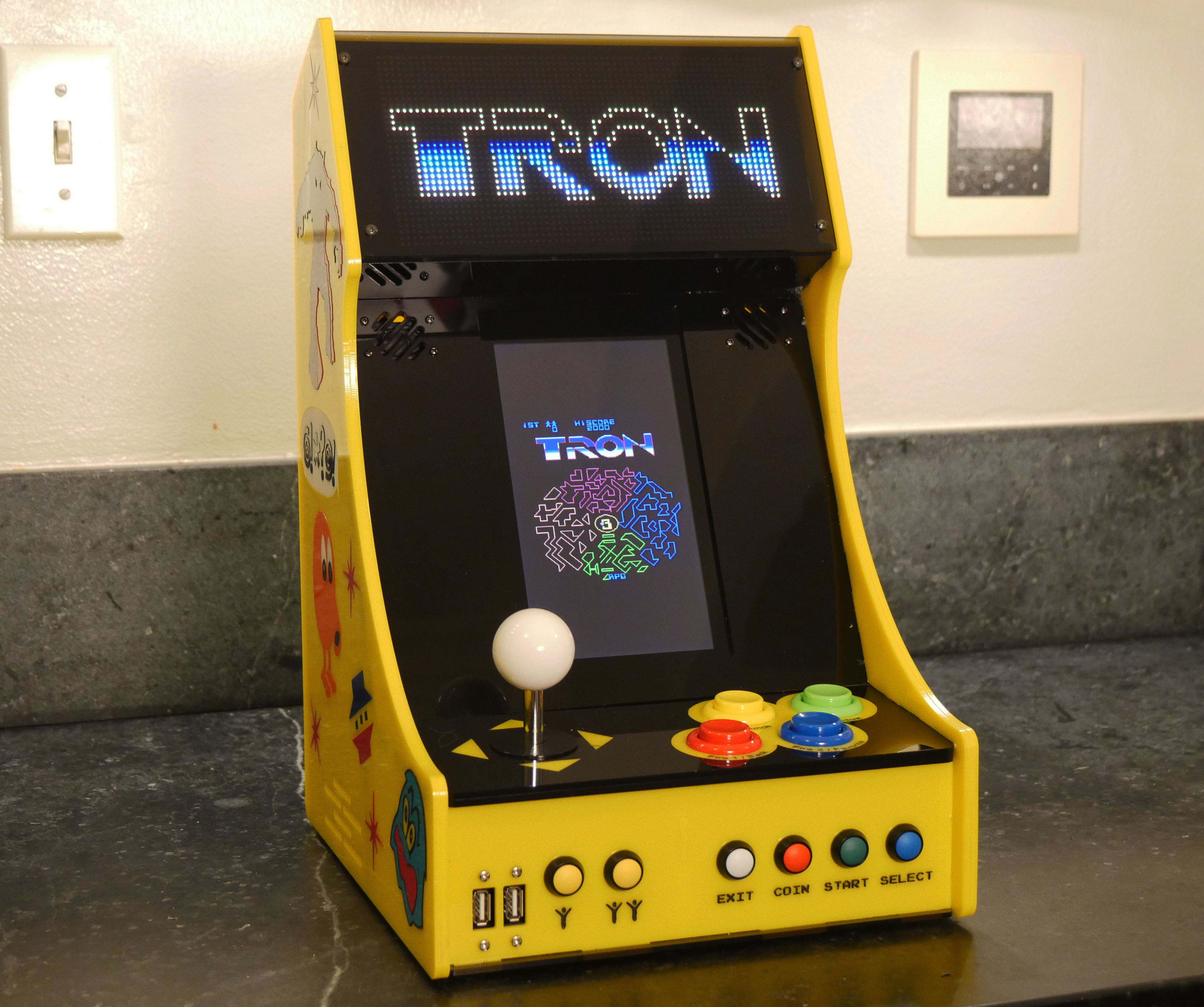 Vertical Bartop Arcade With Integrated PIXEL LED Display