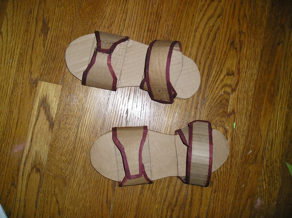 A Pair of Sandals From a Cardboard Box