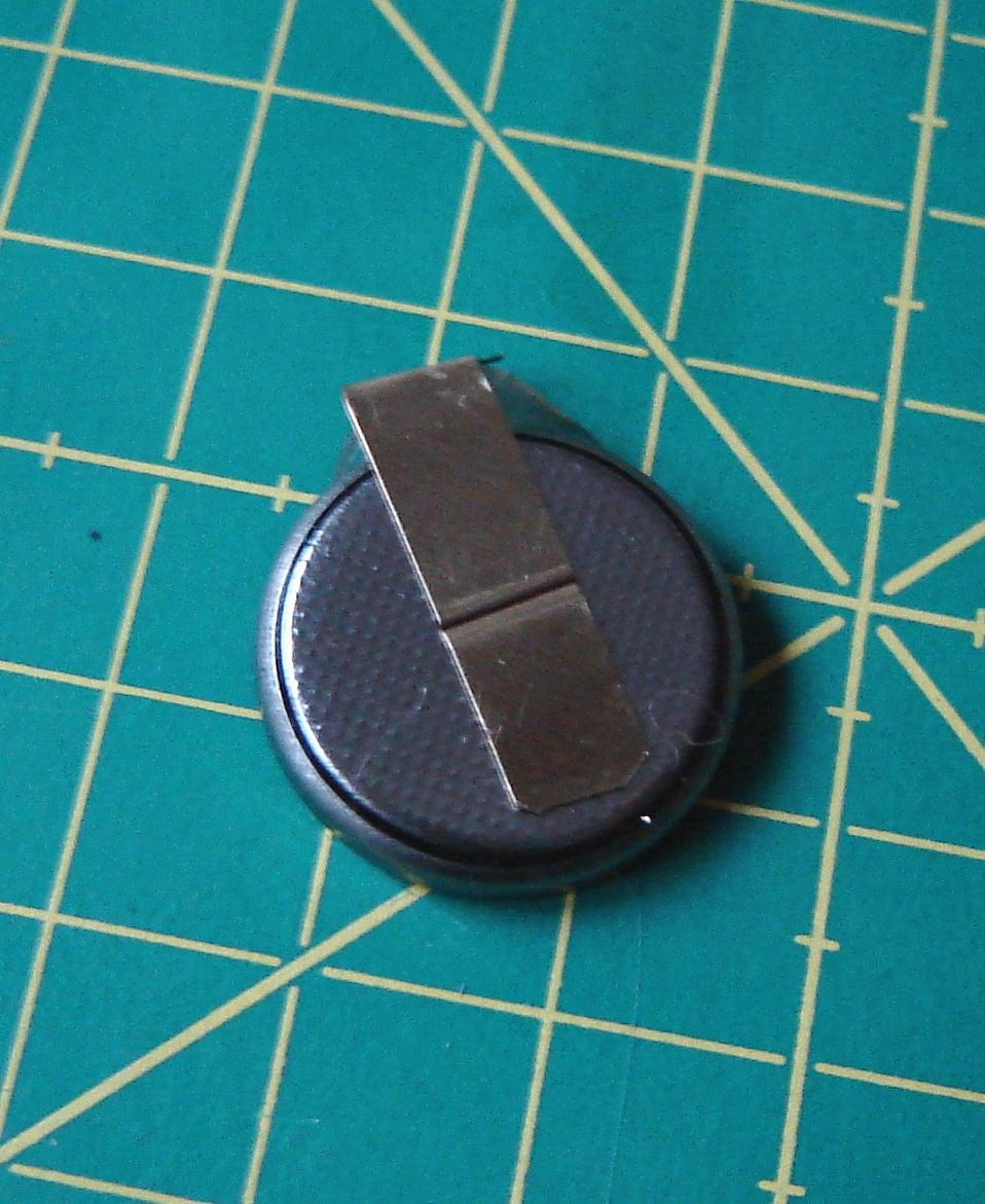 3V Battery Holder: Glue Negative