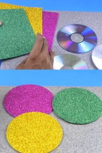 Let's Cover the CDs Using Glitter Sheets!