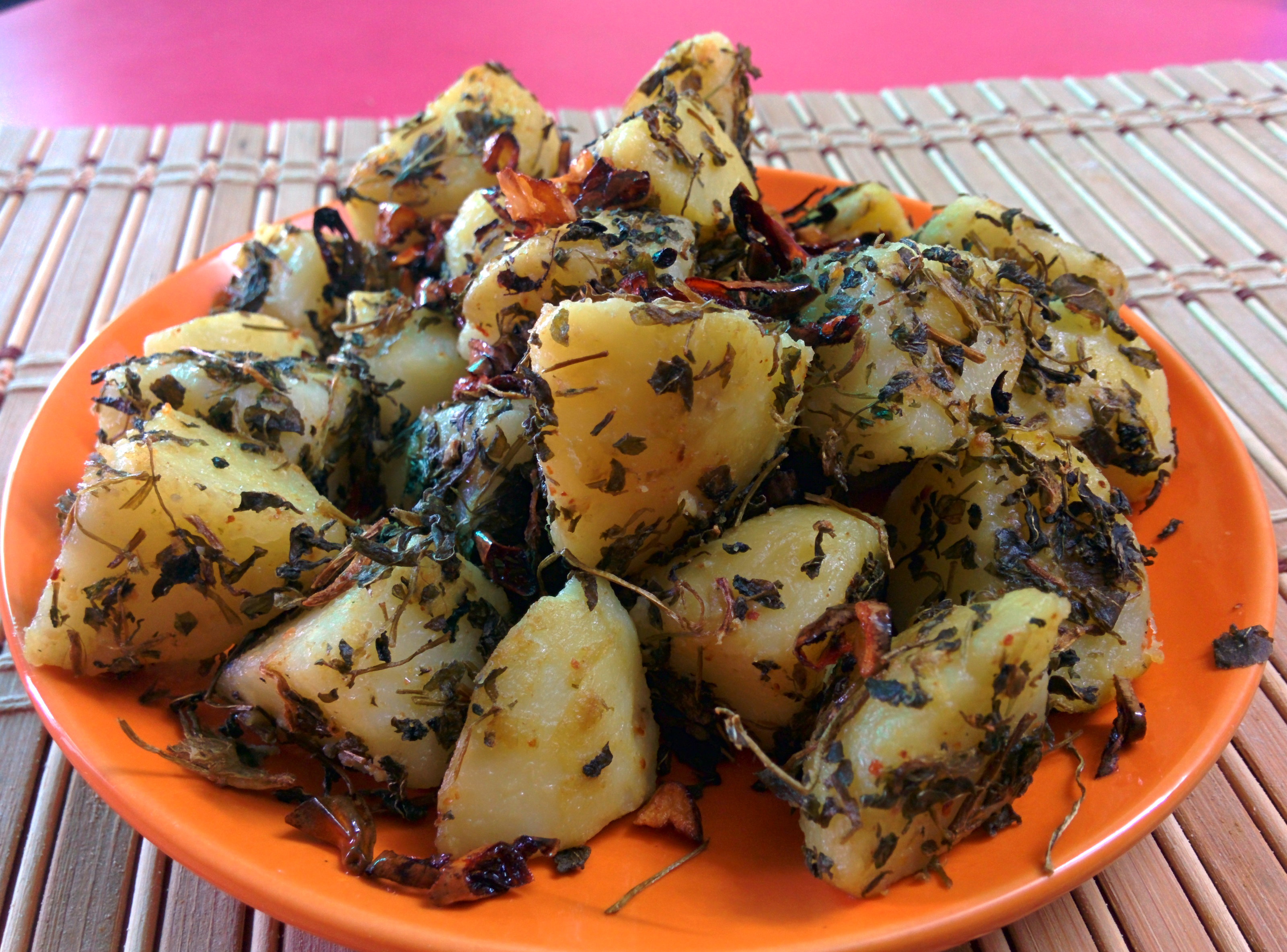 Indian Aloo Meethi Instant version. Potato Fenugreek snack