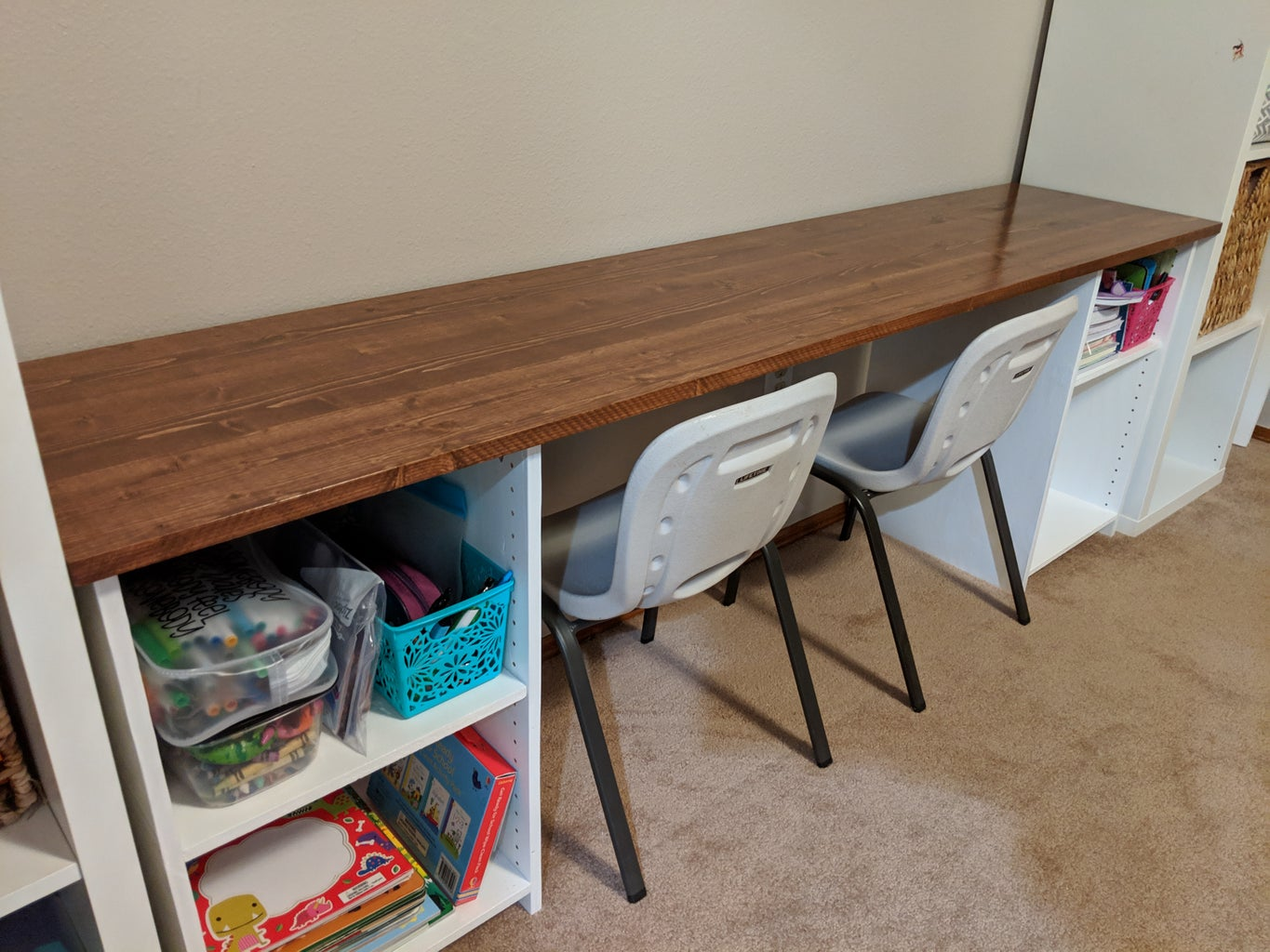 Simple Two Seat Childrens Desk
