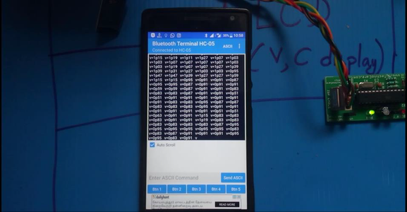 The Bluetooth Module Connected to 8051 Sends This Value to the Mobile Phone.