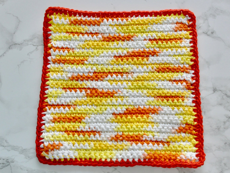 Dishcloth + Single Crochet Border