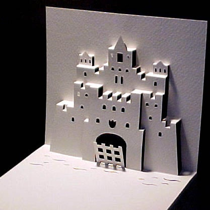 How to Make a Kirigami Ancient Castle Pop Up Card!
