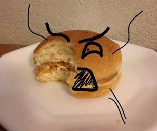 一个三明治,包括蜂蜜,花生酱和非常情绪化的汉堡包; 3