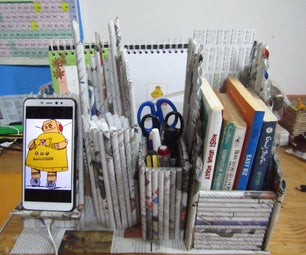 DIY  4 in 1 Desk Organizer From Newspapers