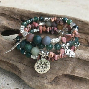 Gemstone & Charm Memory Wire Bracelet
