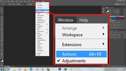 Choose Window→Actions (or) Press(Alt+F9)