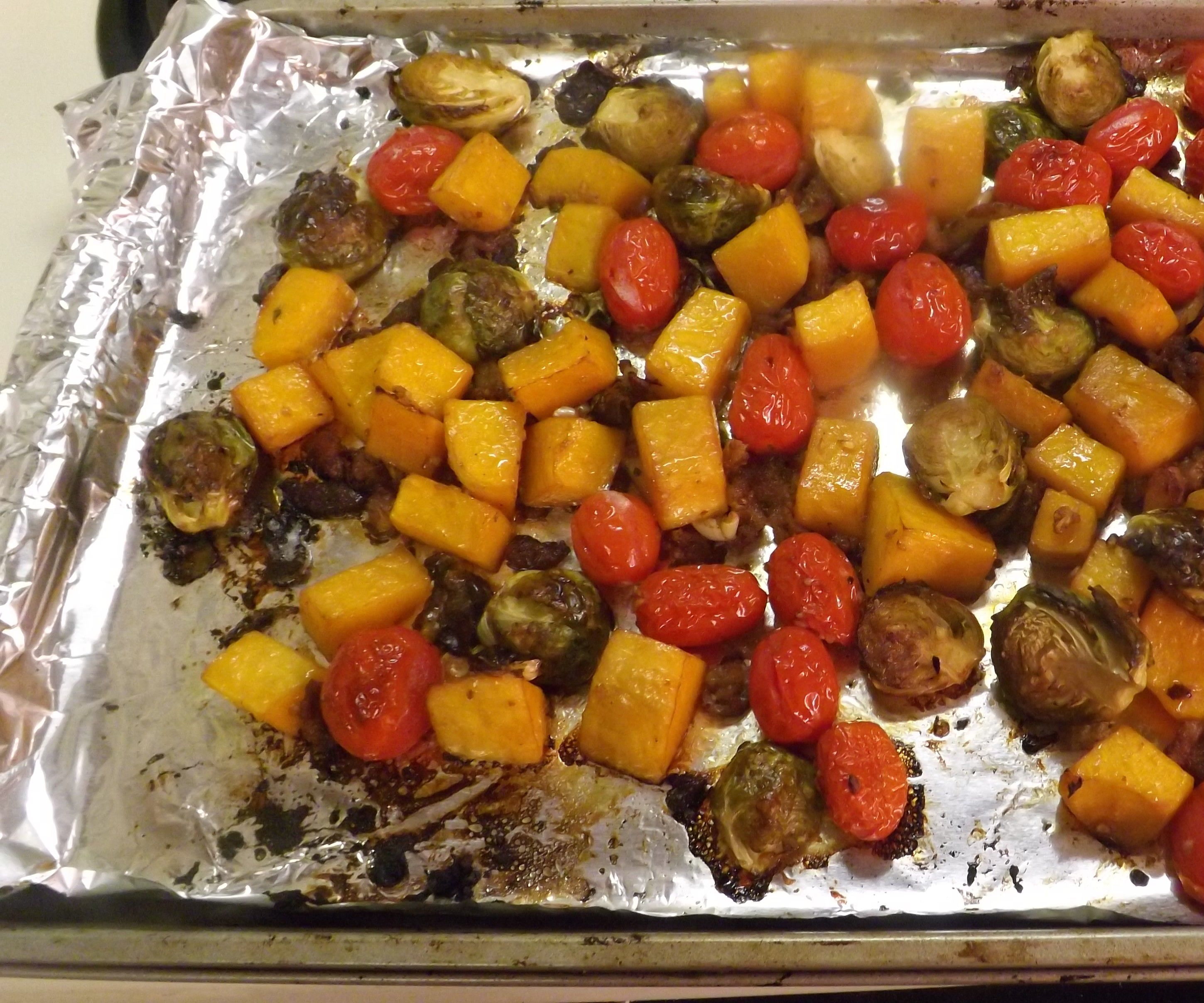 BALSAMIC ROASTED BRUSSELS SPROUTS, BUTTERNUT SQUASH & GRAPE TOMATOES