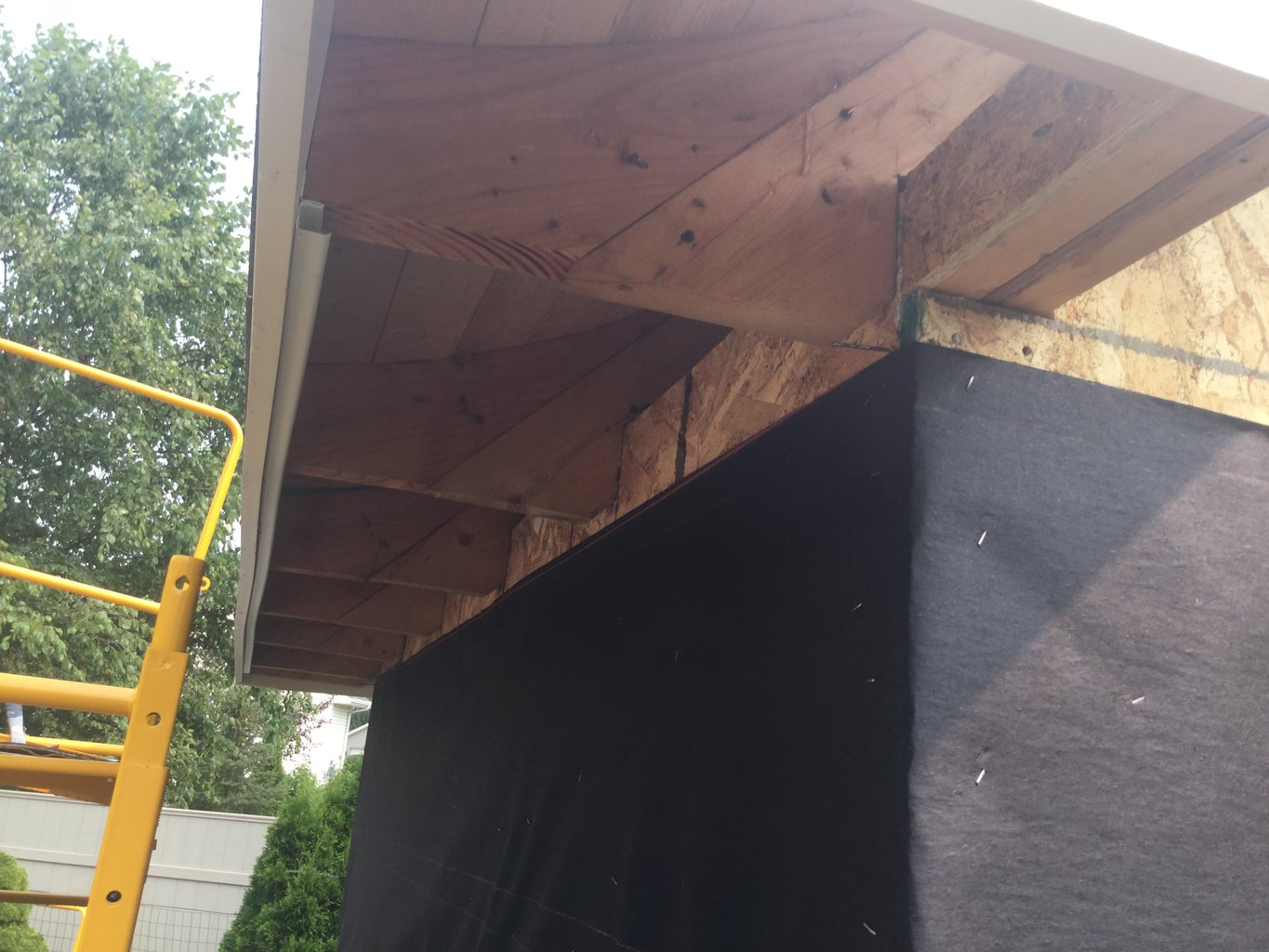 Installing the Gable and Eave Fascia and Soffits 'J' and 'F' for Soffits.