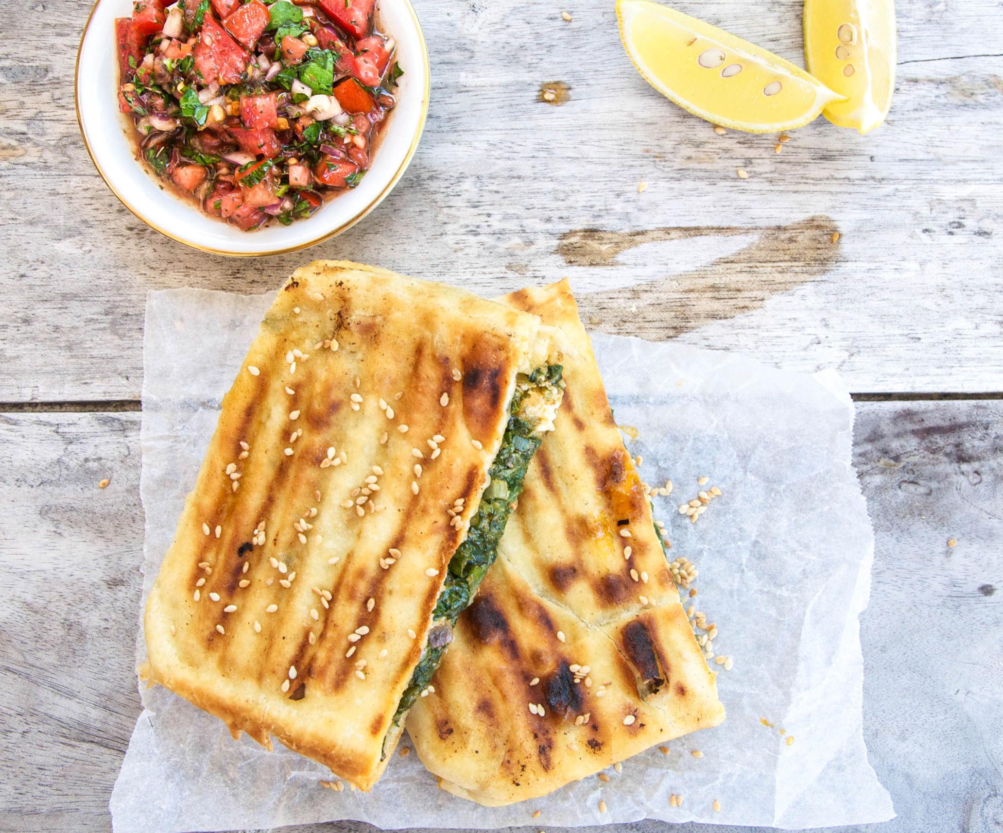 Spinach Gözlemes with Turkish Ezme Salsa