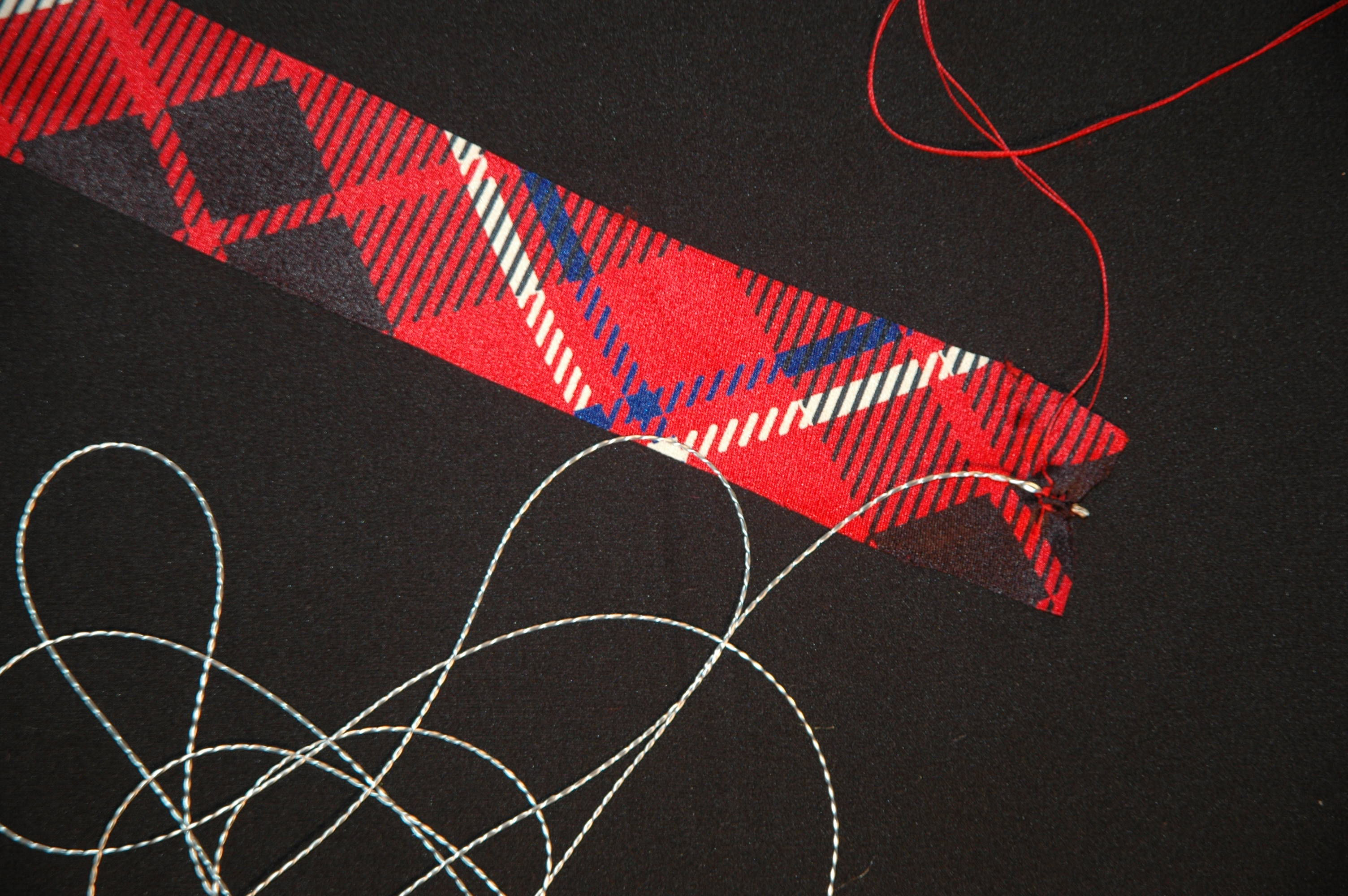 Conductive Thread inside a Fabric Bias Tube aka Tubes of Conductiveness