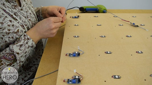 Inserting the LEDs and the IR Proximity Sensors.