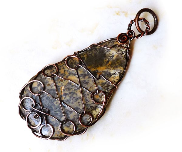 Laced Up Stone Wire Wrapped Pendant