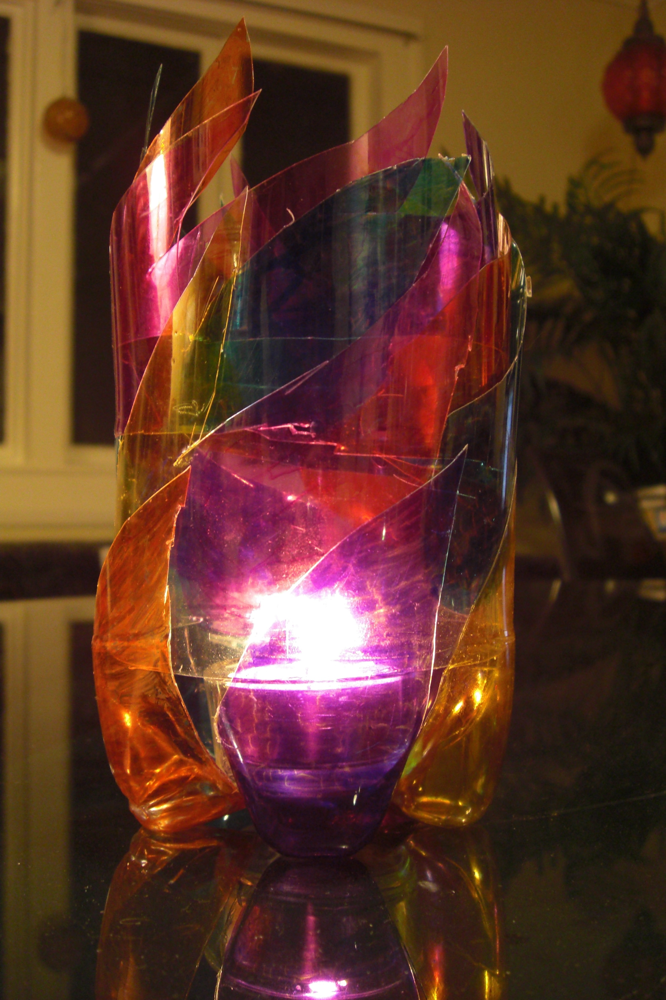 Plastic Bottle Quot Stained Glass Quot Candleholder 4 Steps With Pictures Instructables