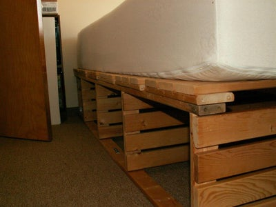 Queen Storage Bed Frame Upcycled From Pine Shelf Unit