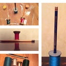 Pencil stand-holder from a sewing bobbin