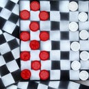 Checker Set - Up-Cycled From LP-Sleeve + Poker-Chips