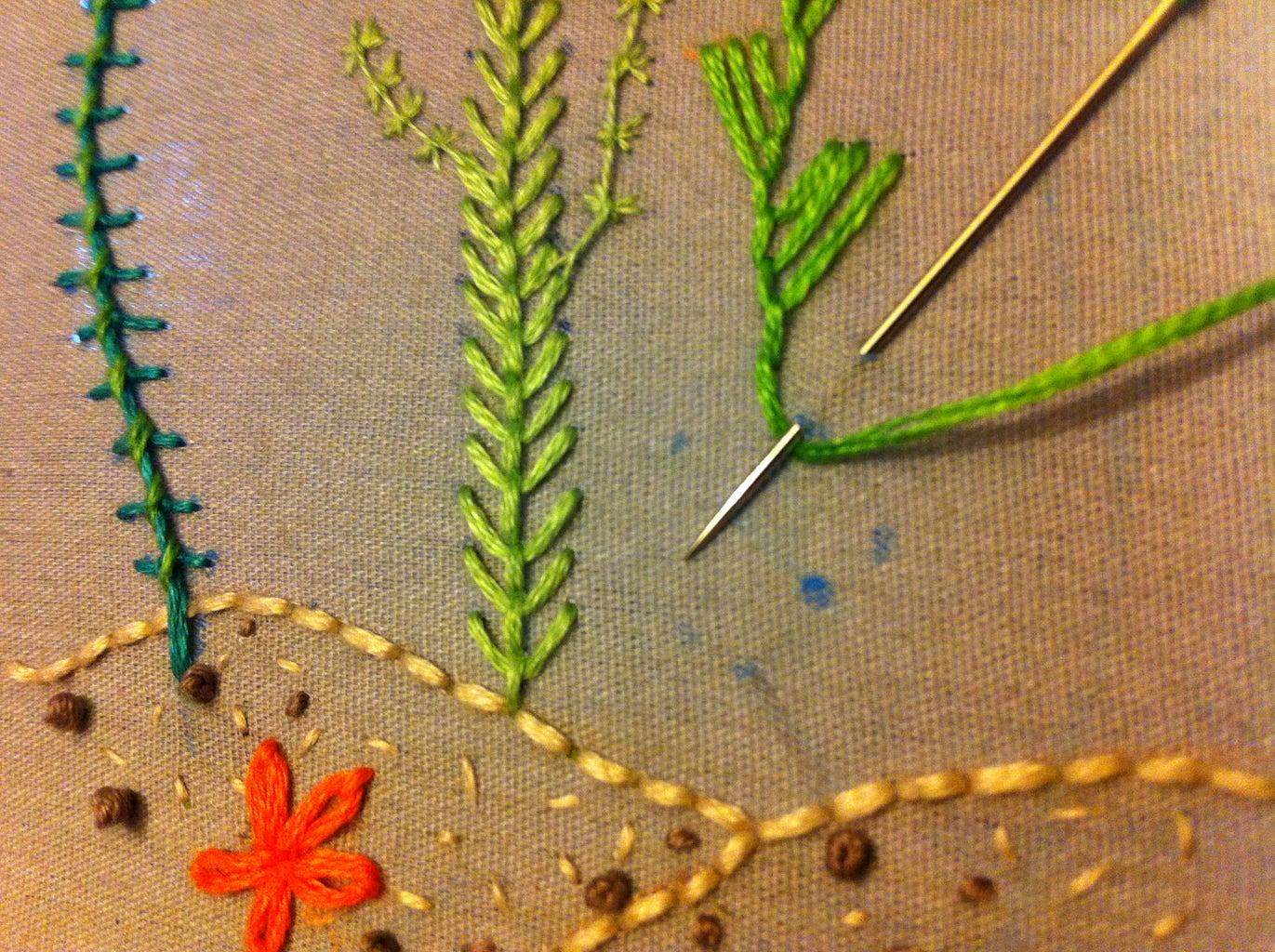 Maidenhair Stitch, Feather Stitch