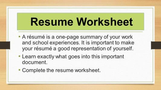 Resume Worksheet-
