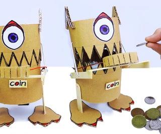 制作从纸板吃硬币的机器人(怪物)
