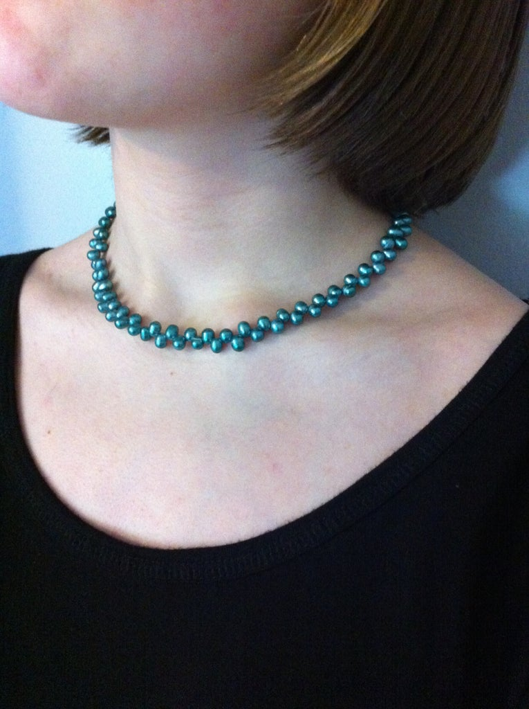 Blue Grotto Necklace Using Crimp Beads