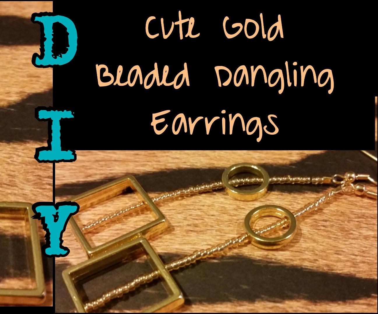 DIY Cute Gold Beaded Dangling Earrings