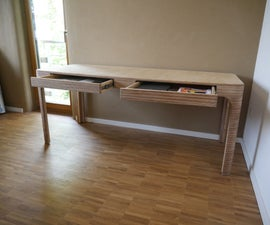 Plywood Desk for Double Home Office