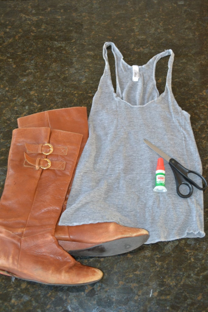 Leather Boots Repurposed Into Embellished Tank Top
