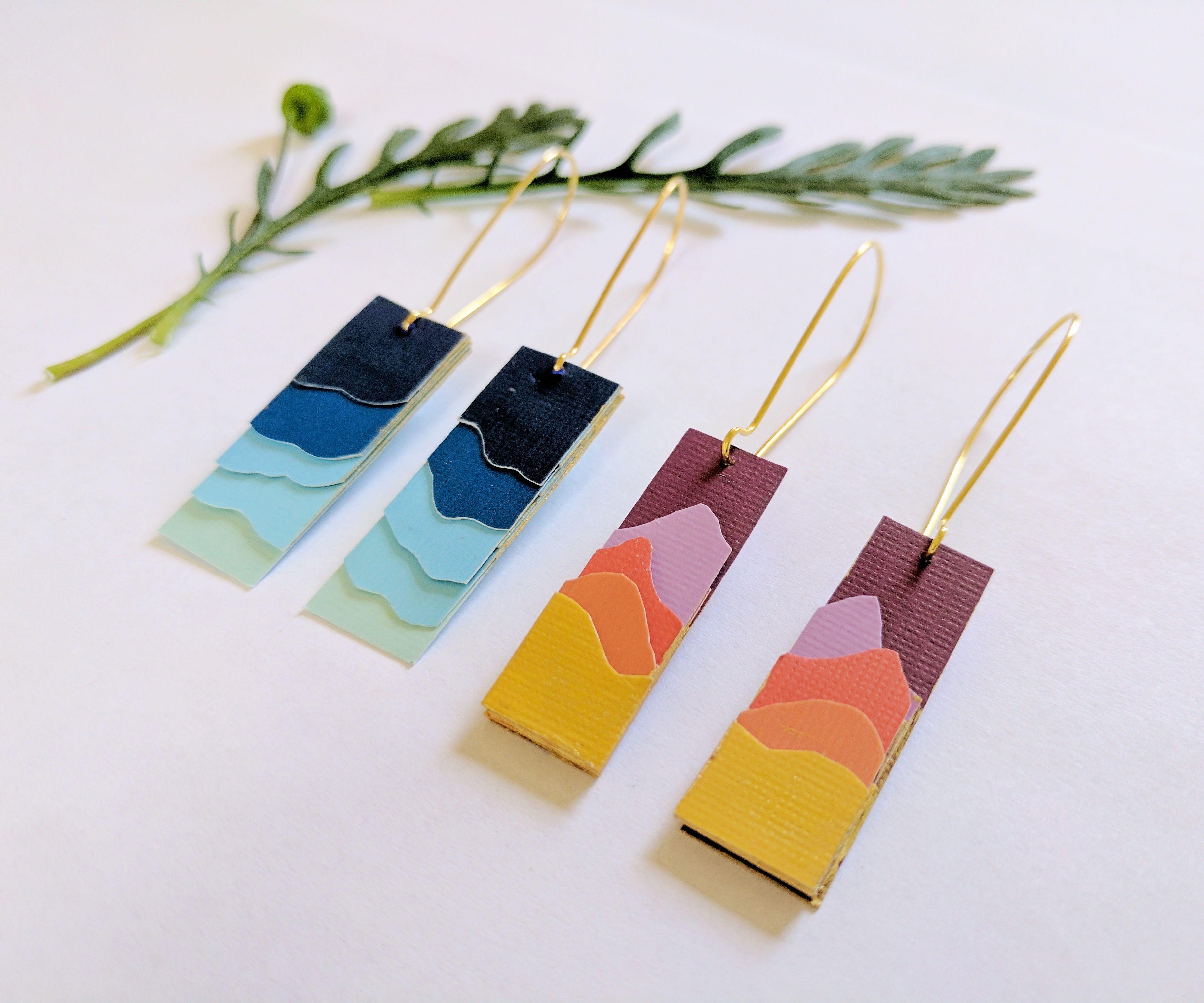 Paper Silhouette Landscape Earrings