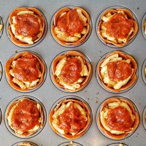 Top 1 1/2 Teaspoon of Pizza Sauce on Top of Each Mac 'n' Cheese Cup.