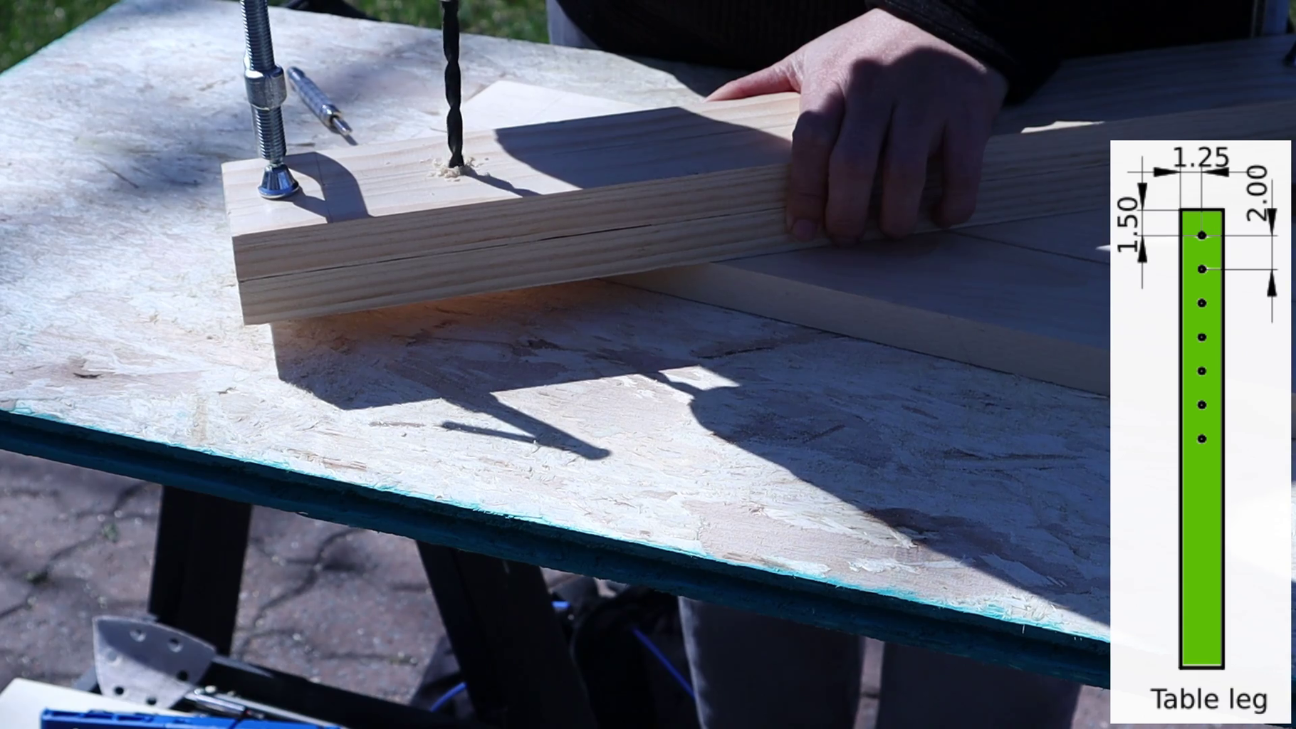 Drill Holes on the Table Frame