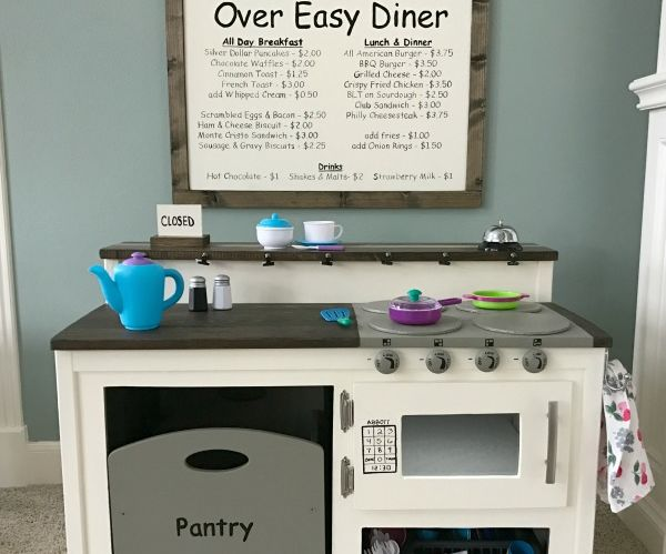 White Kids Play Kitchen DIY With Farmhouse Style, for About $50.