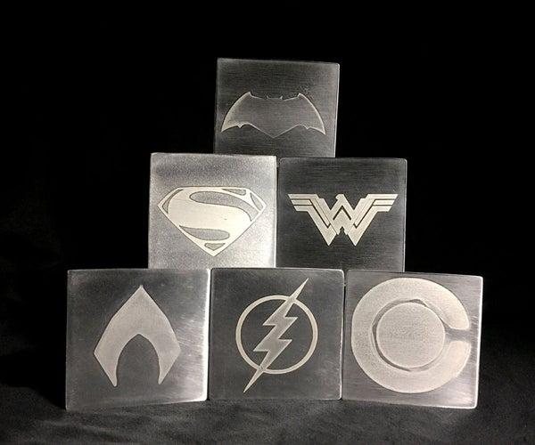 Justice League Coasters - DIY - Acid Etching