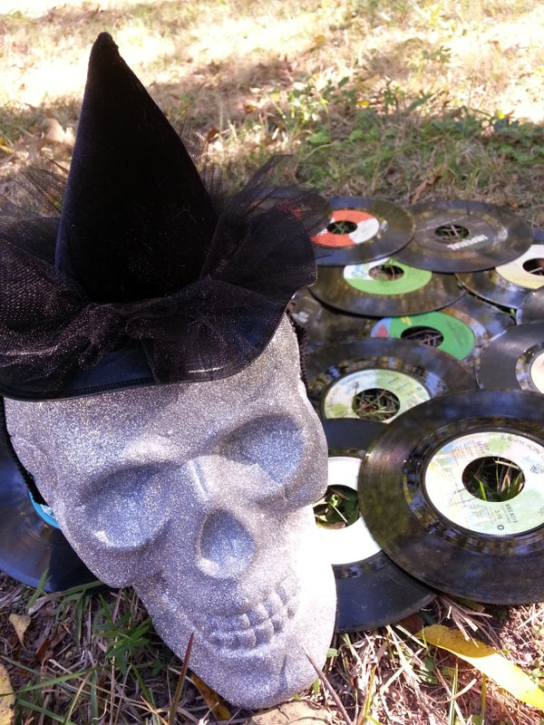 Mini Witch Hat (Fascinator) With Upcycled 45 Record Brim