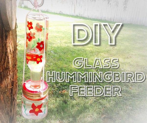 Recycled Glass Hummingbird Feeder