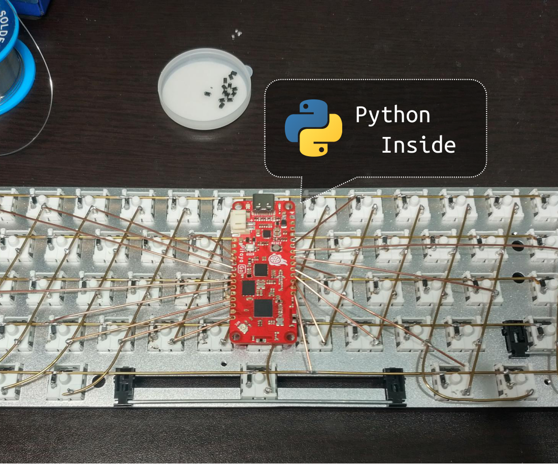 A Hand-wired USB & Bluetooth Keyboard Powered by Python