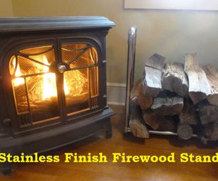 Stainless Finish Firewood Stand