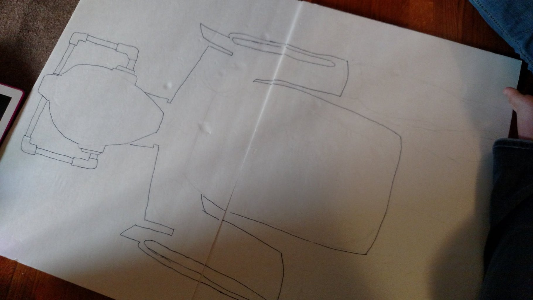 Step 1 Draw the Outline of a Cyberman on the Foam Board