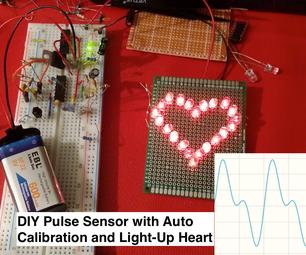 PulseFit - DIY Heart Sensor With Auto-Adjusted Threshold and Heart-Shaped LED Heartbeat Indicator