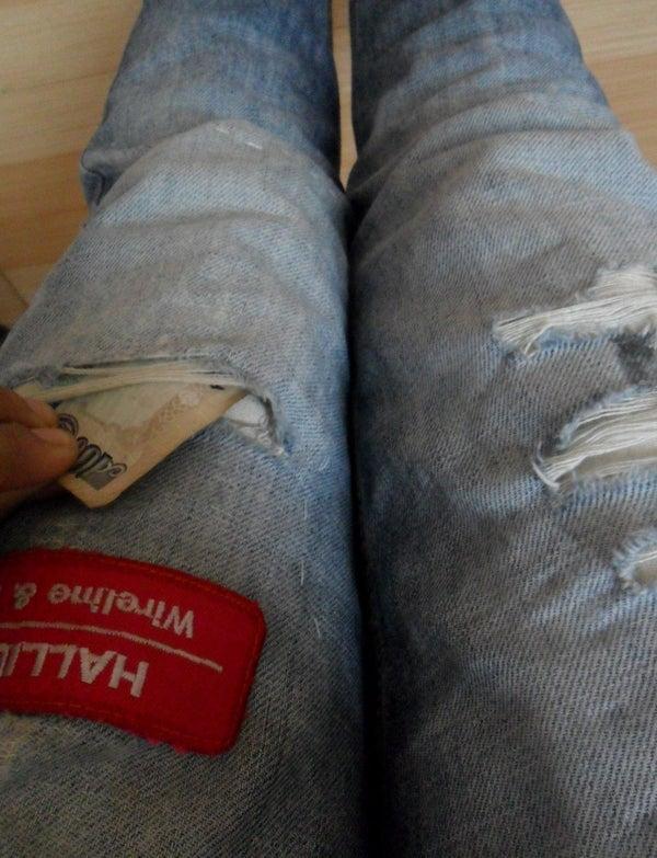 Tattered Jean Secret Gadget Pocket