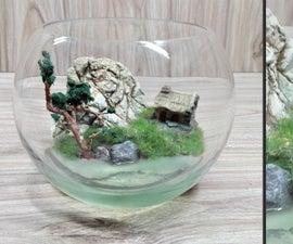 DIY Home Terrarium Diorama With Resin   Mini Realistic Landscape   Alone Tree Diorama