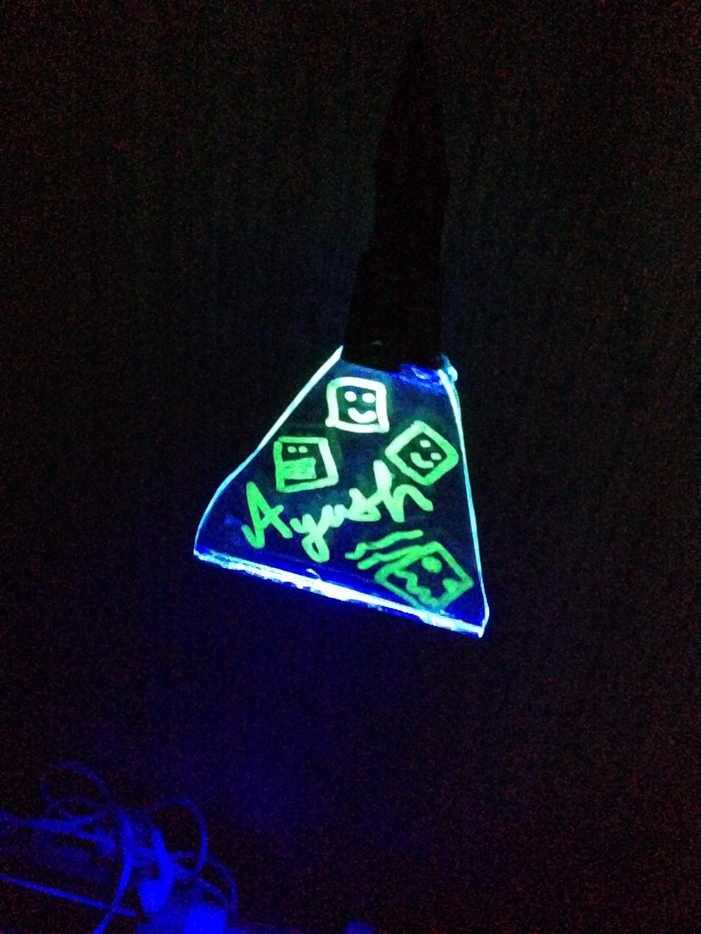 UV Glass Hanging Nightlight/Whiteboard ( From Mobile Charger )