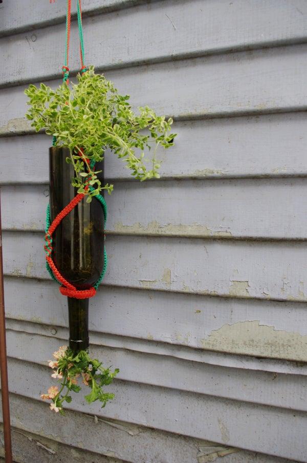 Inverted Wine Bottle Planter