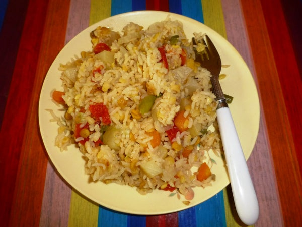 A Well Balanced Nutritious Diet : Pressure-Cooked Rice With Lentils and Vegetables